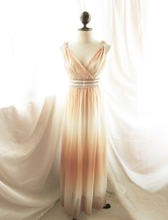 Goddess Soft French Creamy Apricot Romance Dreamy Old World Whimsical Romantic Angel Marie Antoinette Empire Long Chiffon Dress / Gown