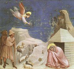 Giotto - Cappella degli Scrovegni - Padova - Storia di Gioacchino e Anna, genitori della Vergine Maria - 5 - Il sogno di Gioacchino - affresco - 1305 circa