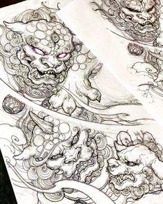 No photo description available. Japanese Dragon Tattoos, Japanese Tattoo Art, Japanese Tattoo Designs, Japan Tattoo Design, Sketch Tattoo Design, Baby Tattoos, Body Art Tattoos, Sleeve Tattoos, Old School Design