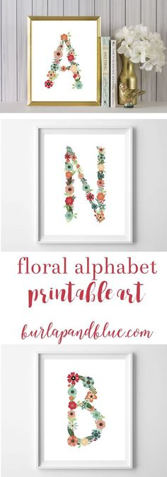 Initials made of flowers! Free printable decorations for a floral themed nursery or bedroom!