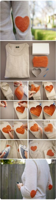 Felted wool elbow patches Could possibly apply this idea to bags, ends of scarfs, fronts of shirts, cloth coasters, towels....