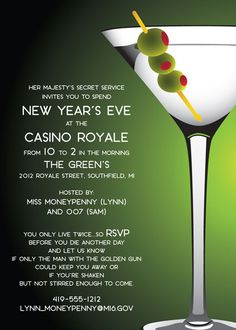 casino night new years eve party invite wording idea casino royale theme casino theme casino party martini party