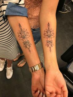 Cute Matching Lotus Tattoo Ideas for Friends or Sisters Tribal Forearm Flower Ma. - Cute Matching Lotus Tattoo Ideas for Friends or Sisters Tribal Forearm Flower Mandala Arm Tattoo – - Mini Tattoos, Body Art Tattoos, Sleeve Tattoos, Tatoos, Arm Tattos, Tattoos For Pets, Bow Tattoos, Girly Tattoos, Paar Tattoos