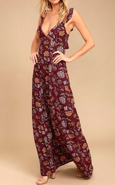 Enjoy life's little joys with the Simple Pleasure Burgundy Floral Print Maxi Dress! Floral print dress with ruffled straps, a tying open back, and flowing maxi skirt. Best Maxi Dresses, Cute Dresses, Long Dresses, Bridesmaid Dresses, Summer Dresses, Burgundy Maxi Dress, Red Maxi, Spring Fashion 2017, Floral Print Maxi Dress