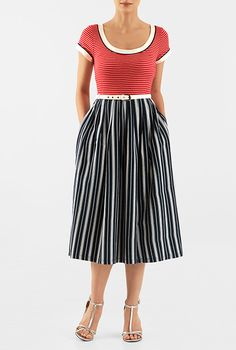 I <3 this Mixed stripe cotton knit belted midi dress from eShakti