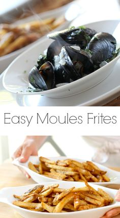 "Learn how to make my Easy Moules Frites recipe simple enough for entertaining! Especially with my trick for ""Cheater Frites"" Includes video tutorial too! Fall Dinner Recipes, Summer Dessert Recipes, Spring Recipes, Shellfish Recipes, Seafood Recipes, Barbecue Recipes, Wine Recipes, Moules Frites Recipe, Easy Summer Meals"
