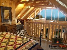 SPECTACULAR 180-degree MOUNTAIN VIEWS, Pet-friendly (large OR small dogs), and incredible mountain views galore! Comcast Triple Play service with free unlimited long distance and internet service.This custom-built log cabin will be everything your heart desires in a romantic log retreat, and more. Stretch out upstairs in the open loft area and enjoy the plush kingsize log bed, and enjoy the mountain views from there. #Pigeon #Forge #honeymoon #anniversary #getaway #romantic #couples #cabin