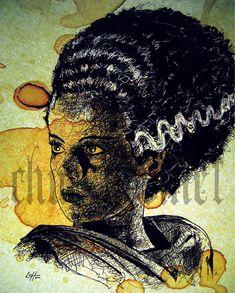 Print 8x10  The Bride  Portrait Frankenstein Dracula by chuckhodi, $10.00