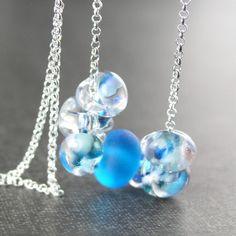 Ocean Blue Drop Necklace Sterling Silver Artisan by DorotaJewelry
