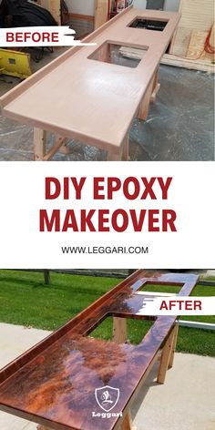[ Leggari Products - Simplifying the Industry ] Having the best epoxy and the e. - Before and After Pictures using Leggari Products - [ Leggari Products – Simplifying the Industry ] Having the best epoxy and the easiest installati - Epoxy Countertop Kit, Faux Marble Countertop, Refinish Countertops, Kitchen Countertops, Concrete Countertops Over Laminate, Table Beton, Diy Epoxy, Resin Table, Epoxy Floor
