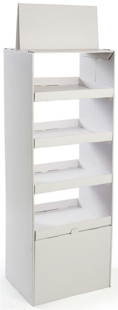 Floorstanding Cardboard Display with 4 Shelves, Double Sided, Removable Header- White