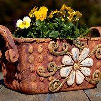 Zboží prodejce lavender / Zboží | Fler.cz Ceramic Pottery, Ceramic Art, Ceramic Planters, Planter Pots, Flower Pots, Flowers, Work Inspiration, Clay Projects, Container Gardening
