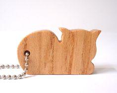 Cat+Key+Chain+Kitten+Wood+Scroll+Saw+Outline+by+OohLookItsARabbit,+$7.00