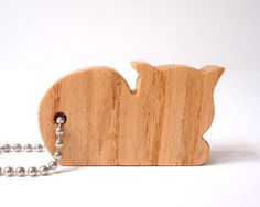 Cat+Key+Chain+Kitten+Wood+Scroll+Saw+Outline+by+OohLookItsARabbit,+$7.00