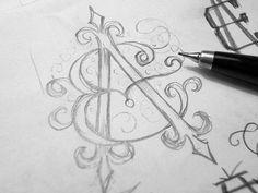 Ea_monogram_sketch by mx. (Note to self: work on lettering) Hand Lettering Art, Hand Lettering Practice, Creative Lettering, Typography Art, Lettering Design, Brand Identity Design, Branding Design, Corporate Branding, Logo Design