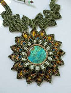 Chrysocolla Turquoise Flower Macrame Necklace handmade with natural Chrysocolla gemstone cabochon