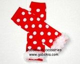 Red w/White Polka dots and chiffon ruffles  only $3.99  www.gabskia.com