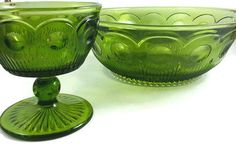 Green Glass Salad Bowl and Sherbert Dish, by Bartlett/US Glass, possibly reproduced