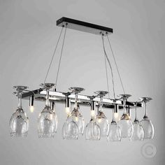 Modern Chrome Wine Glass Chandelier Suspended 8 Way Ceiling Lamp Light Fitting Suspended Ceiling Lights, Ceiling Light Fittings, Drop Lights, Light Fixture, Kitchen Ceiling Lights, Glass Ceiling Lights, Ceiling Lamp, Kitchen Lighting, Foyer Lighting