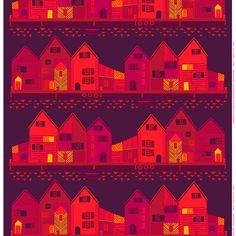 Marimekko Vanhakaupunki Plum/Red Fabric $48.00