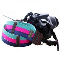 Webbing Camera strap in Raspberry, Teal and Navy