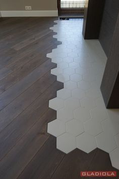 All these transitions has the hexagon tile, I can't find something like this using square tile. House Styles, House Design, Home Interior Design, Flooring, House Interior, Apartment Interior, Home Decor, Floor Design, House Flooring
