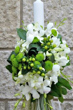 lumanari botez, botez, aranjamente botez, lumanare botez, aranjamente botez, lumanare rotunda Palm Sunday, Christening, Wedding Flowers, Candles, Weddings, Plants, Wedding, Candy, Plant
