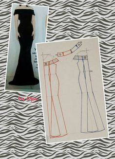 Long dress pattern Off shoulder sleeves