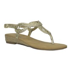 83ee94ac2358 19124 Womens Gold Woven Toepost Sandal on a Low Hessian Wedge £12.99  www.shoezone