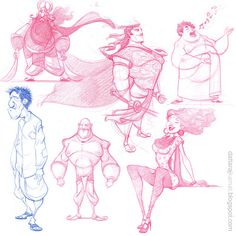 DATTARAJ KAMAT Animation art: Some character sketches done today...