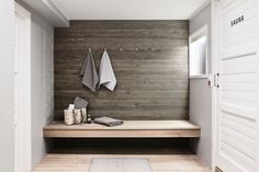 Sauna departments in residential buildings in Finland are very common. This sauna department got a Sauna House, Sauna Room, Sauna Design, Outdoor Sauna, Finnish Sauna, Laundry Room Bathroom, Spa Rooms, Home Spa, Design Your Home