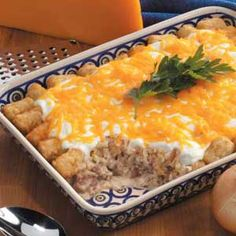Brat 'n' Tot Bake Recipe One of my favorite comfort foods. FYI, don't look at the nutritional facts. :)
