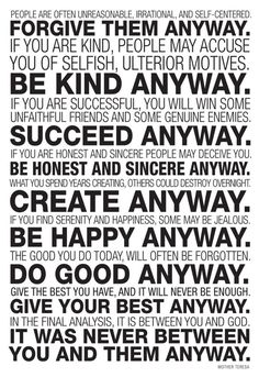 Amazon.com: Mother Teresa Anyway Quote Poster 13 x 19in: Do It Anyway Poster: Posters & Prints
