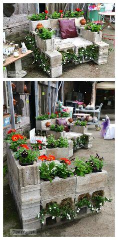 Reused Cinder Block Chair #Chair, #CinderBlock, #Garden, #Planter