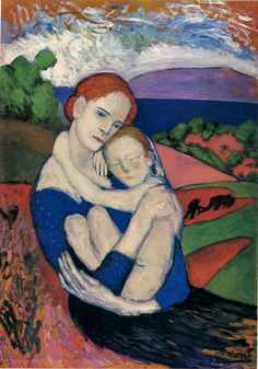 "Mother and Child, 1901, Pablo Picasso. ""Only one person has the right to criticize me. That is Picasso."" — Henri Matisse"