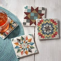 Quilted Coasters, Felt Coasters, Plastic Canvas Coasters, Stone Coasters, Barn Quilt Designs, Barn Quilt Patterns, Quilting Designs, Quilting Ideas, Santa Cross Stitch