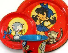 1940s Ohio Art Tin Toy Tea Setting Cup plate & saucer