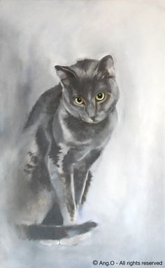 cat+artwork | Wildlife paintings : Cat painting