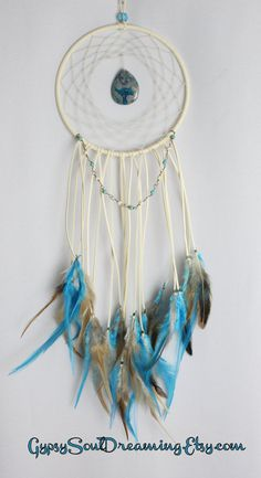 Cream and Turquoise Dream Catcher with a Lace Agate Pendant, Howlite Wire Wrapped Beads, and Pheasant Feathers