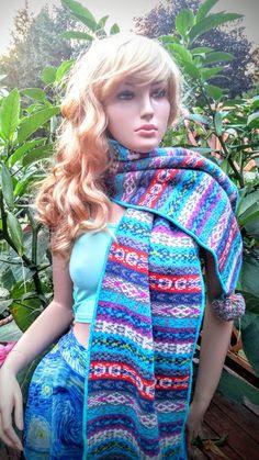 Multicolor Boho Tribal Knit Scarf Tribal Bohemian by FashNerds