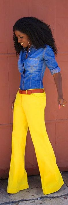 Fitted Denim Shirt + Yellow Wide Leg Pants by Style Pantry