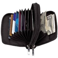 Genuine Lambskin Leather Accordion Wallet / Card Holder black only Features window on front for ID, 2 zippered compartments, one with 9 slots and one with 2 slots. Measures x x Brand: Embassy Best Handbags, Purses And Handbags, Skinny Wallet, Best Wallet, Wallets For Women Leather, Lambskin Leather, Leather Purses, Card Case, Credit Cards