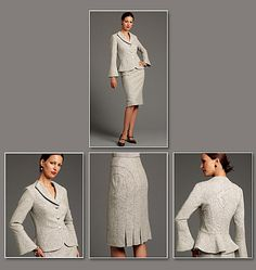 Divine Details jacket and skirt (to sew): Fitted, partially interfaced, lined to edge jacket, with raised back neckline and front lapels, detail front and back with princess seams and flared sleeves with seam. Semi-fitted lined skirt with detail seams, back pleats, contour waist, side zipper closing and mid-knee length.