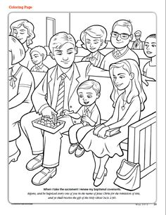 a primary coloring page from the lds church a girl is confirmed