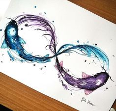 By: @vanessa_falzi Source: Instagram Tattoo of two fish infinity sign blue and purple