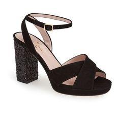 "kate spade new york 'honey' platform sandal, 4"" heel ($375) ❤ liked on Polyvore featuring shoes, sandals, black, ankle wrap sandals, platform sandals, leather sandals, ankle strap sandals and kate spade sandals"