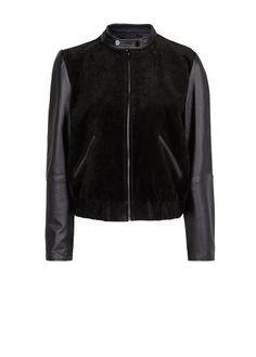 Куртка-бомбер кожа и замша