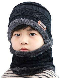 40be55f36d3 Buy ANJUREN Hat Beanie Scarf Set 2pcs Child Kids Boys Girls Winter Snow Knit  Skull Cap