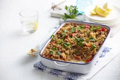 Oven-baked mince and cheese risotto