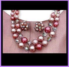 vintage burgundy parure jewelry sets   Crystal and Bead Necklace 1960s Demi Parure Mauve Aurora Borealis